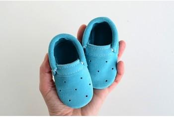 MOKASYNY 10 CM 3/6M BABY BLUE
